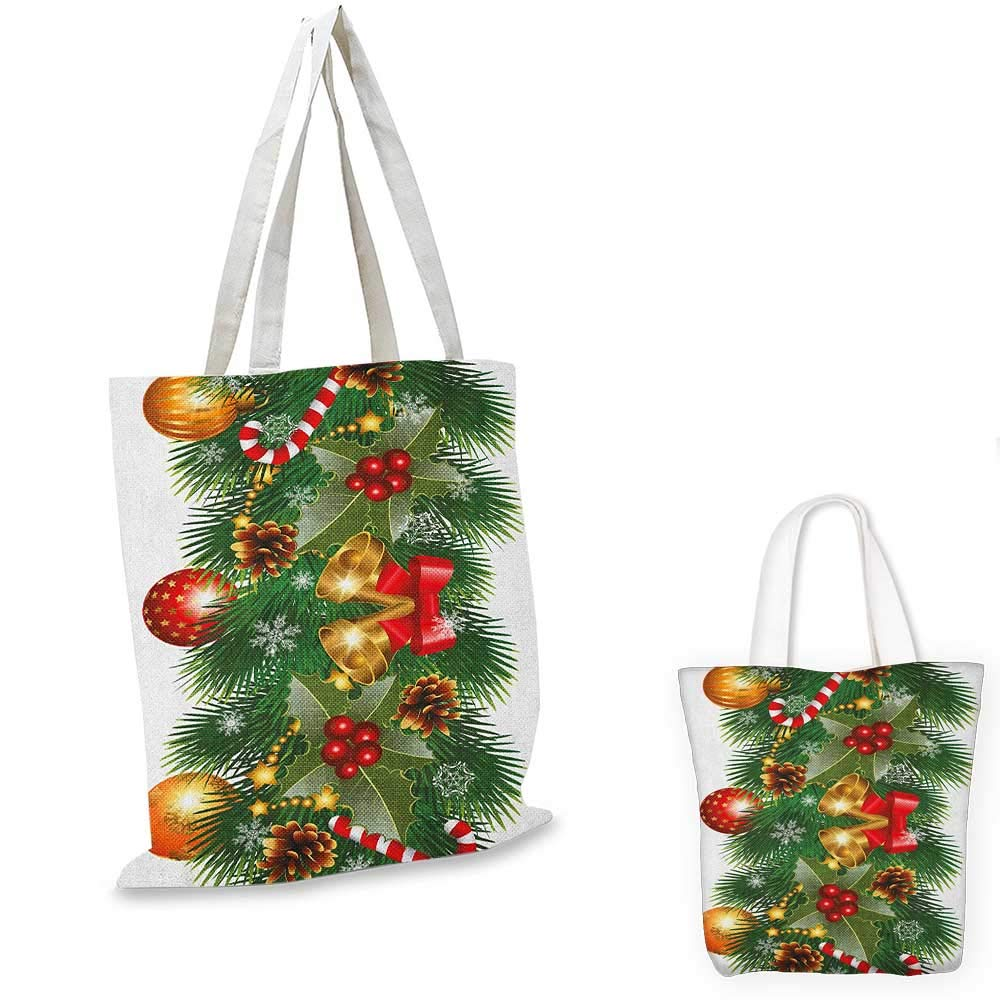 16x18-13 Christmas canvas messenger bag Red Santa Claus Hats New Years Theme With Snow Like Dot Pattern canvas beach bag Pale Blue Red and White