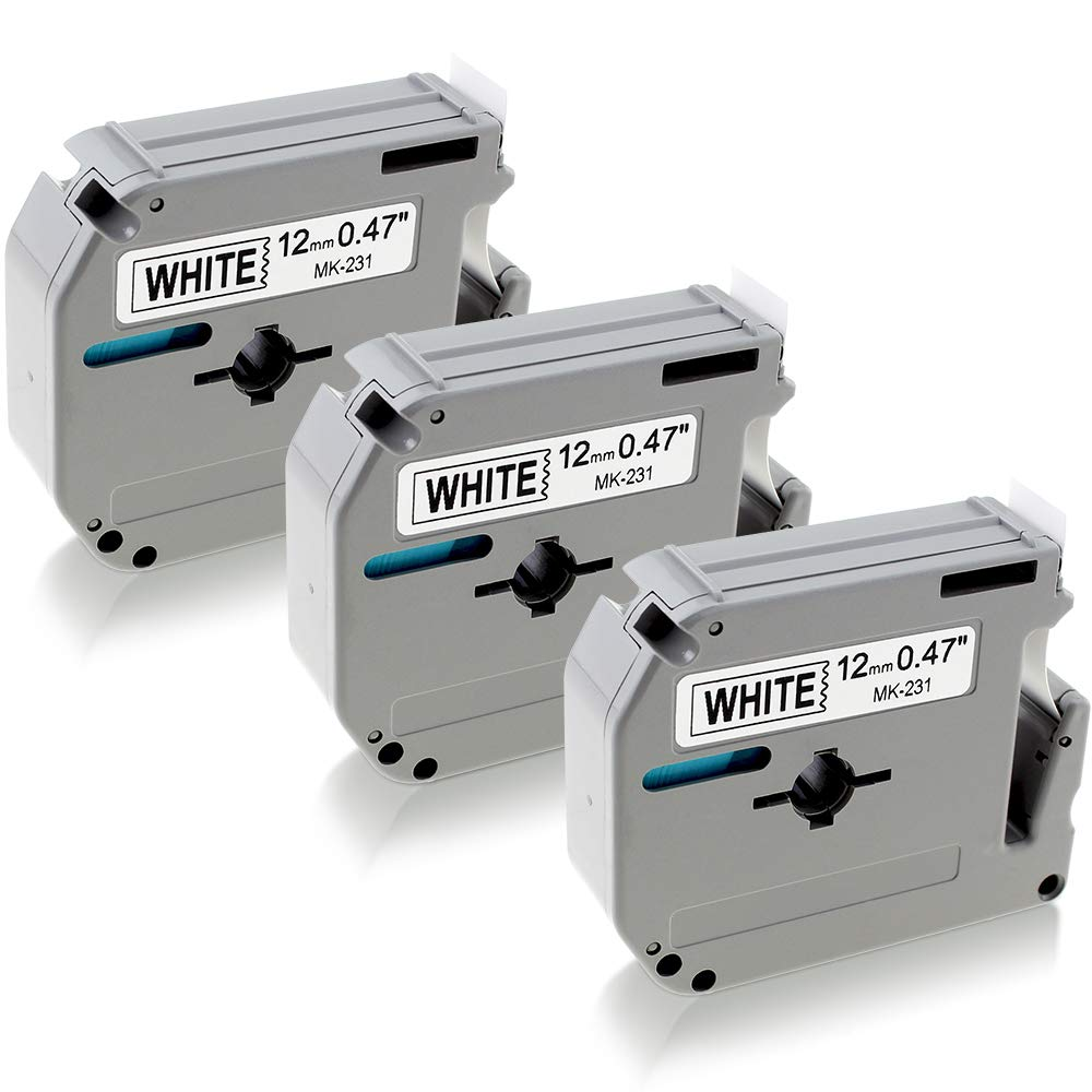 Compatible Brother M Label Tape M-K221 MK221 M221, P-Touch M Tape 9mm 0.35' Laminated White for Brother P-Touch PT-M95 PT-65 PT-70BM PT-80 PT-85 Label Makers (3 Pack) 3/8' x 26.2ft Greateam