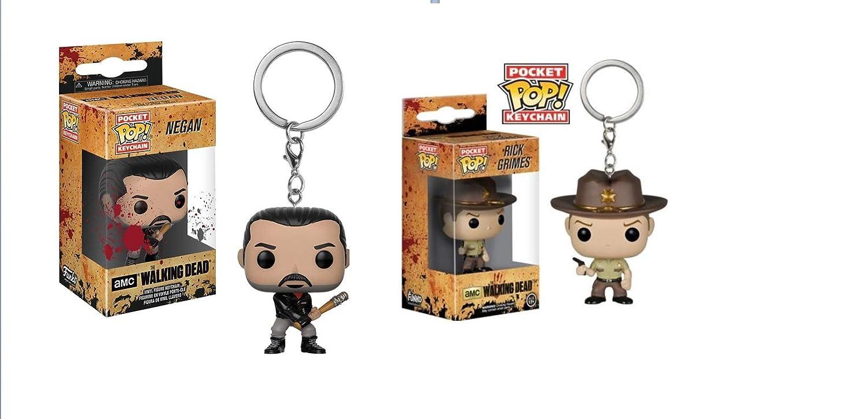 2 llaveros Funko 21189 The Walking Dead: Negan & Rick POP ...