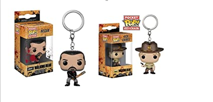 2 llaveros Funko 21189 The Walking Dead: Negan & Rick POP ...