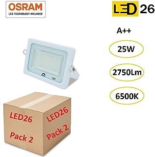 LED26® Exterior Floodlight Led PACK DE 2 Focos 25w chip LED OSRAM Proyector Led para Exterior Iluminación Decoración 6500k IP65 Blanco [Clase de eficiencia energética A++]: Amazon.es: Iluminación