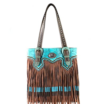 8b96c3c66da04 MW335g-8558 Montana West Fringe Collection Concealed Carry Tote Bag-Brown