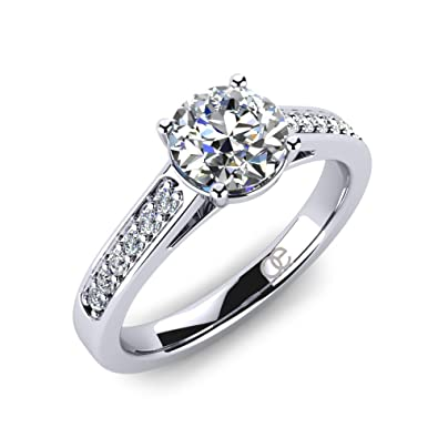 aa128f9bd Ladies' Brilliant Engagement Ring Adoree with 925 Sterling Silver and  Finest Swarovski Crystals on Shoulders is Perfect Gift for Women and Token  of Love ...