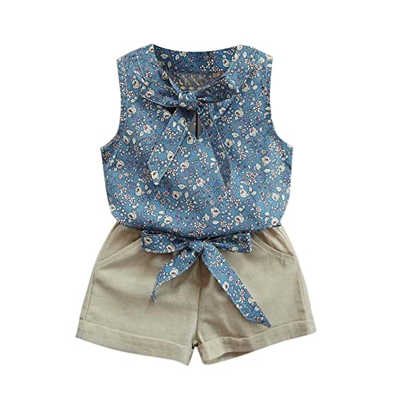 7da6bd126 OverDose Niño Niños Niñas Floral Bowknot Chaleco Camiseta + Shorts Conjunto  Ropa Set (2-