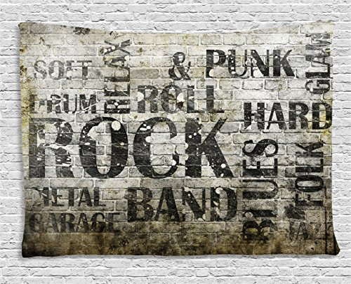 Cheap  Ambesonne Grunge Tapestry by, Music Wall with Punk Jazz Rock Garage Soft..