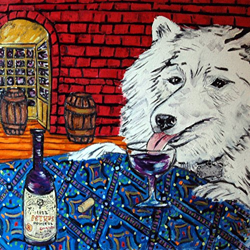 (samoyed wine tasting decor dog art tile coaster gift)