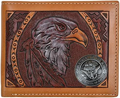 Custom American Spirit U S Navy hand-tooled Bi-Fold leather wallet