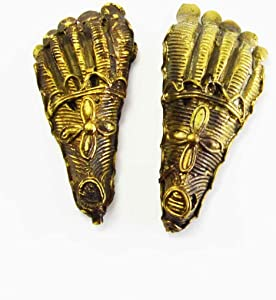 Novelika Sri Laxmi Lakshmi charan paduka (laxmi's feet) Beautifully Brass Polished. Lucky Charm Amulet Yantra - for Immense Wealth Prosperity