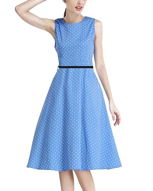 Vestido de Mujer Vintage 1950s Estampado Coctel Partido Vestidos de Noche Azul Blanco S