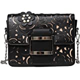 Felice Women Hollow Out Handbag Flower Beaded Clutch Chain Shoulder Bag