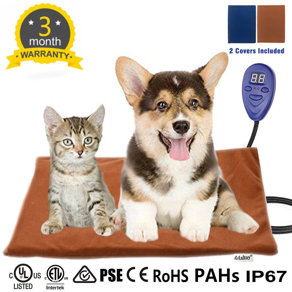 Asltoy Pet Heating Pad,Dog Cat Electric Warming Mat Heat Pad Pet Mat Warming Pad Waterproof Adjustable Chew Resistant Cord Warming Bed with 2 Replace Soft Removable 15.7''x11.8'' (40×30cm)