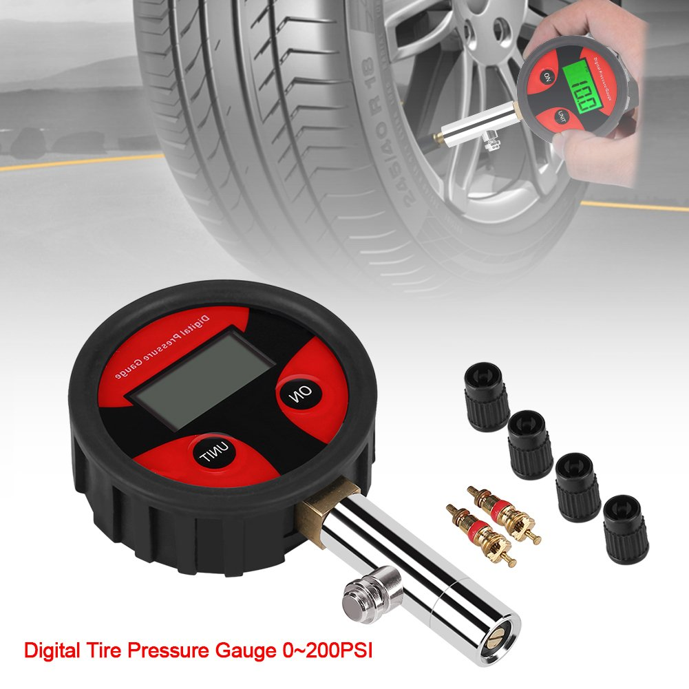 Acogedor 0~200PSI Digital Tire Pressure Gauge with Tyre Valve and Caps for Easy Testing and Reading, for Measuring Car or Other Vehicle Tires Pressure