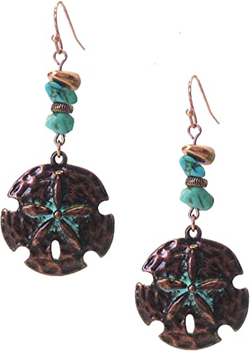 Silver-Tone Filigree Leaf Dangle Earrings with Blue Bead Accent