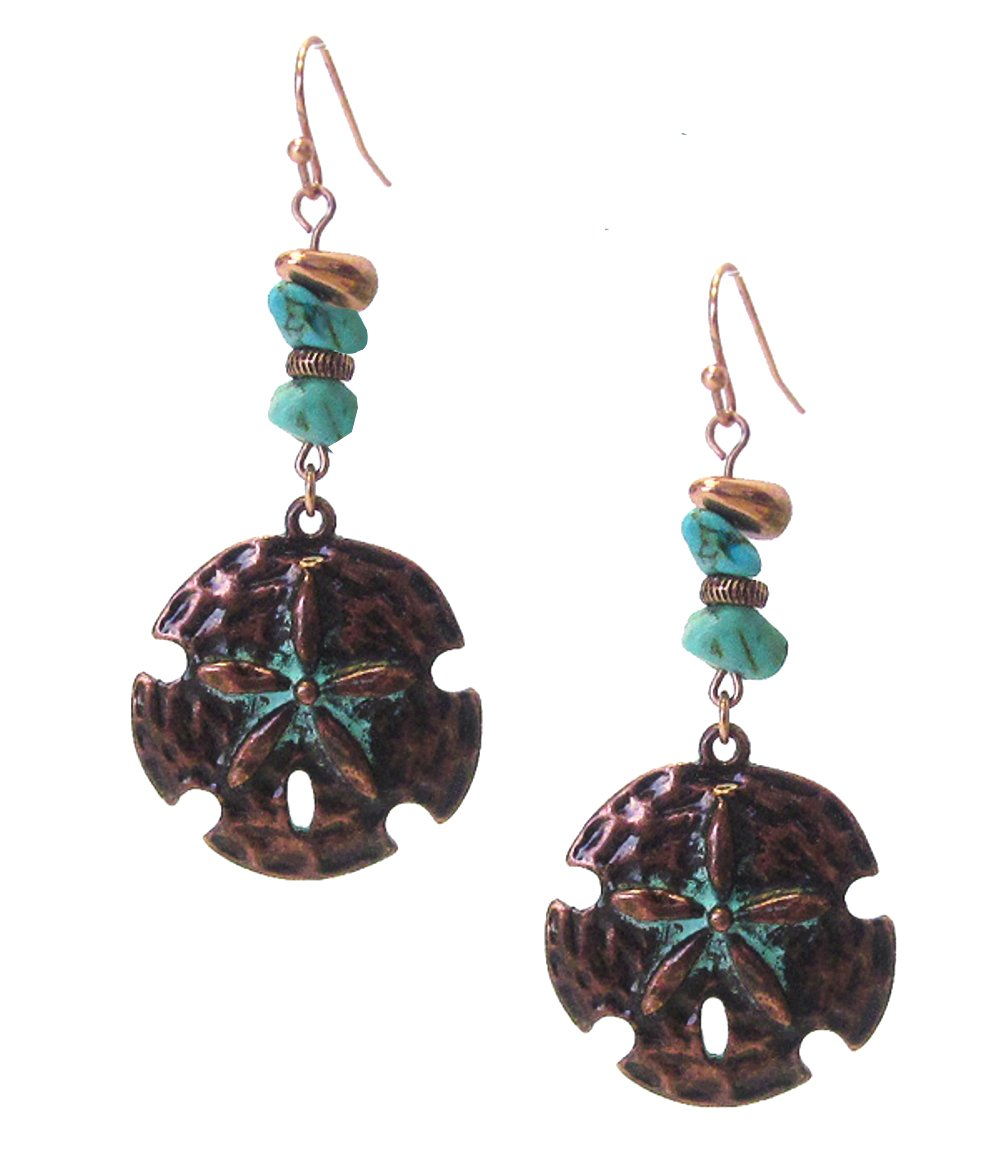 """Distressed Patina Finish Copper-Tone and Teal Faux-Stone Sand Dollar Dangle Drop Earrings, 2 ¼"""" Long"""