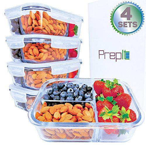 [34oz, 4-Pack Premium] Glass Meal Prep Containers 3 Compartment Set- Food Lunch Storage- Airtight Locking Lids -Tupperware- Portion Control -Microwave, Freezer, Oven & Dishwasher Safe (4.25 Cups)