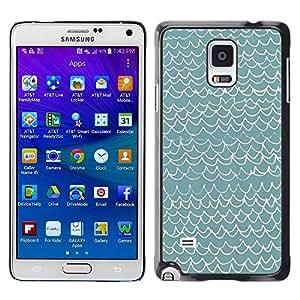 Be Good Phone Accessory // Dura Cáscara cubierta Protectora Caso Carcasa Funda de Protección para Samsung Galaxy Note 4 SM-N910 // Waves Pattern Art Blue White Modern