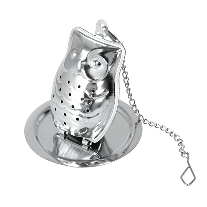 Stainless Steel 1 Cup KitchenCraft LeXpress Loose Tea Infuser with Drip Tray Owl Shaped