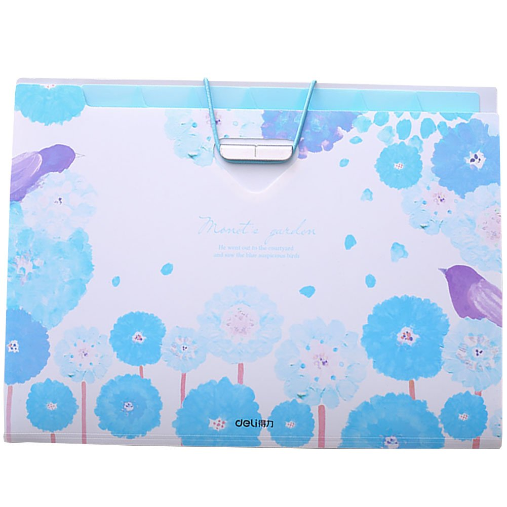 PheoGood 8 Pockets Expanding File Folders with 2 Pack Labels- Fit Letter Size and A4- Blue Floral and Bird Print- Portable Accordion Organizer for School Work, Office Document and Receipts