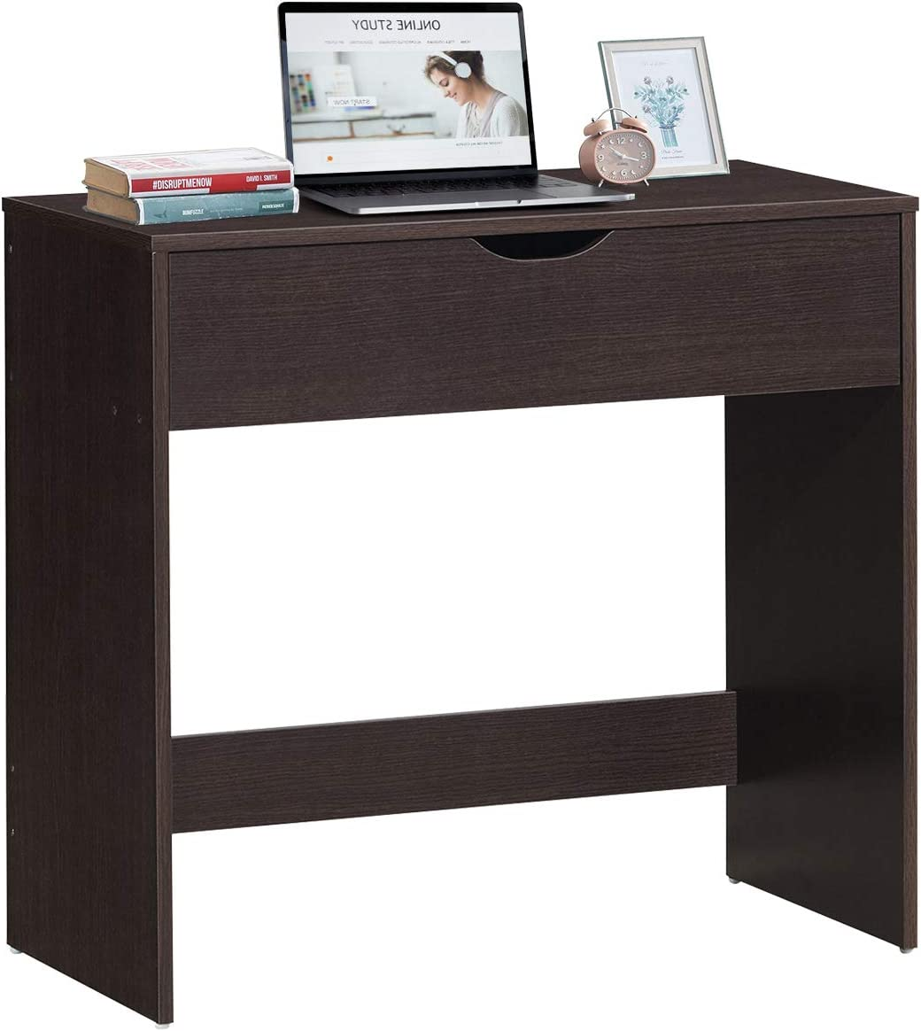 Tangkula Wood Writing Desk, Computer Desk with Drawer, Small Desk for Student, Wood Study Desk for Kids Espresso