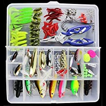 【Best Deals】OriGlam 101PCS Fishing Lure Set Kit Fishing Tackle Lots,Portable Fun Fishing Baits Kit Set for Saltwater and Freshwater With Tackle Box