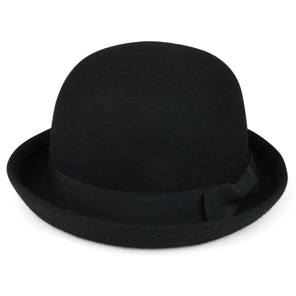 Armycrew Women's Plain Wool Felt Ribbon Grosgrain Band Bowler Hat