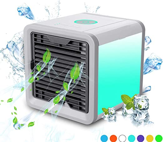 Evaporador del Enfriador de Aire, purificador, Ventilador de enfriamiento de Escritorio con 3 velocidades y 7 Colores de luz Nocturna LED para el hogar de la Oficina al Aire Libre: Amazon.es: Hogar