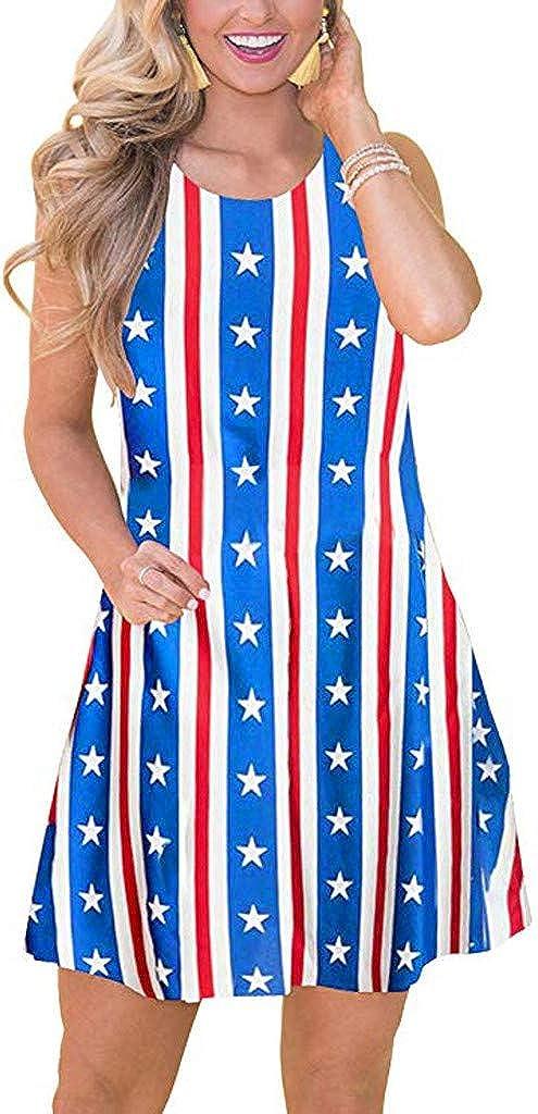Womens Sleeveless Mini Dresses Sale Summer Casual Boho Floral Swing Tank Dress