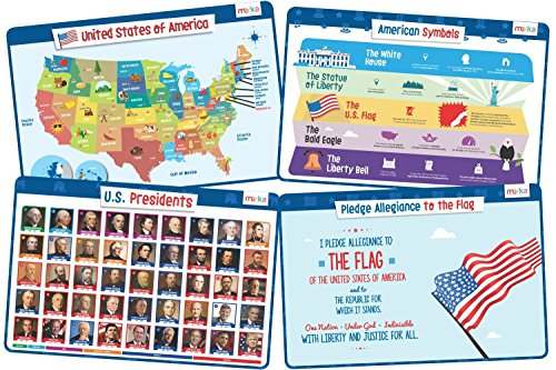 Educational Kids Placemats - Presidents and USA Info Set - Includes: Presidents of The United States, American Symbols, How to Become President and USA Flag
