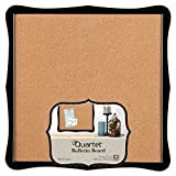 Quartet Bulletin Board, Cork, 14'' x 14'', Home Organization, Black Frame (50722)