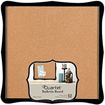 "Quartet Bulletin Board, Cork, 14"" x 14"", Home Organization, Black Frame (50722)"