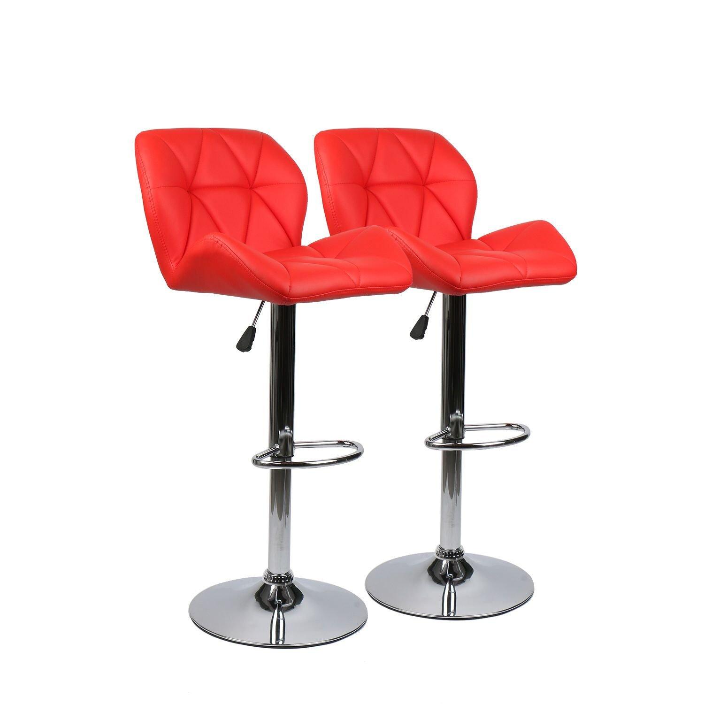 Polar Aurora Set of 2 Modern Adjustable Swivel Bar Stool PU Leather Modern Adjustable Hydraulic Lift Counter Barstool (Red)