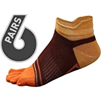 EdLand Five Toe Socks 6 Pack - Toes Separated Comfortable Socks for Athletic, Running, Walking, Yoga and Casual use