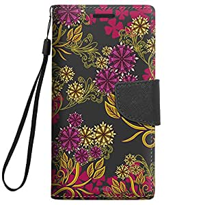 Samsung Galaxy S5 Wallet Case - Magenta Flowers and Yellow Vines on Black