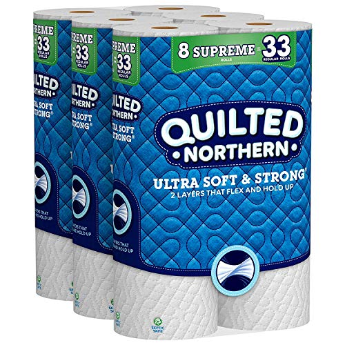 Quilted Northern Ultra Soft & Strong Toilet Paper, 24 Supreme Rolls, 24 = 99 Regular Rolls, Bath Tissue, 3 Packs of 8 Rolls (Limited Edition)