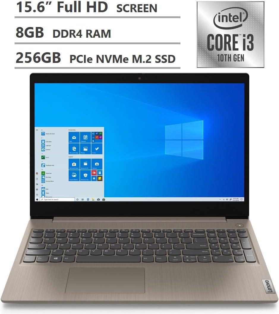"2020 Newest Lenovo Ideapad 3 Laptop, 15.6"" Full HD Display, 10th Gen Intel Core i3-1005G1 Dual-Core Processor, 8GB DDR4 Memory, 256GB PCIe SSD, HDMI, Wi-Fi, Bluetooth, Webcam, Windows 10 Home, Almond"