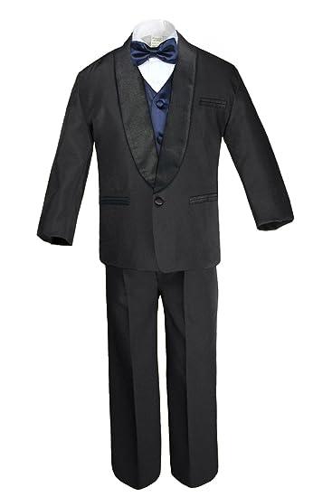 Amazon.com: unotux niños satén chal solapa trajes esmoquin ...