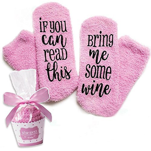 Bring Me Wine Socks, Perfect Women's Birthday Gift Idea For 30th and 40th Present or Wine Accessory. These tube socks are long, thick, warm and comfortable. Made from fuzzy, soft cotton fleece.