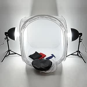 MVPOWER Caja de Luz 80*80cm, Tienda de Luz para Estudio de Fotografía con Trípode Portátil, Lámparas de 135W y 4 Fondos (Negro / Blanco / Azul / Rojo): Amazon.es: Hogar
