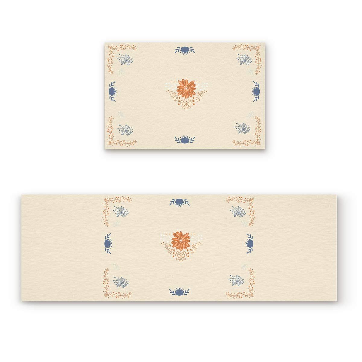 Decorative Pattern35fiy2007 19.7x31.5In+19.7x63In Non-Slip Indoor Door Mat Entrance Rug Rectangle Absorbent Moisture Floor Carpet for Mandala Theme Doormat 23.6x35.4In+23.6x70.9In