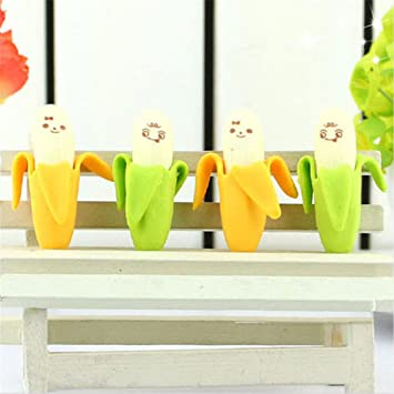 2pcs plátano 3d diseño dibujo limpiador limpiaparabrisas de goma borrador color al azar: Amazon.es: Oficina y papelería