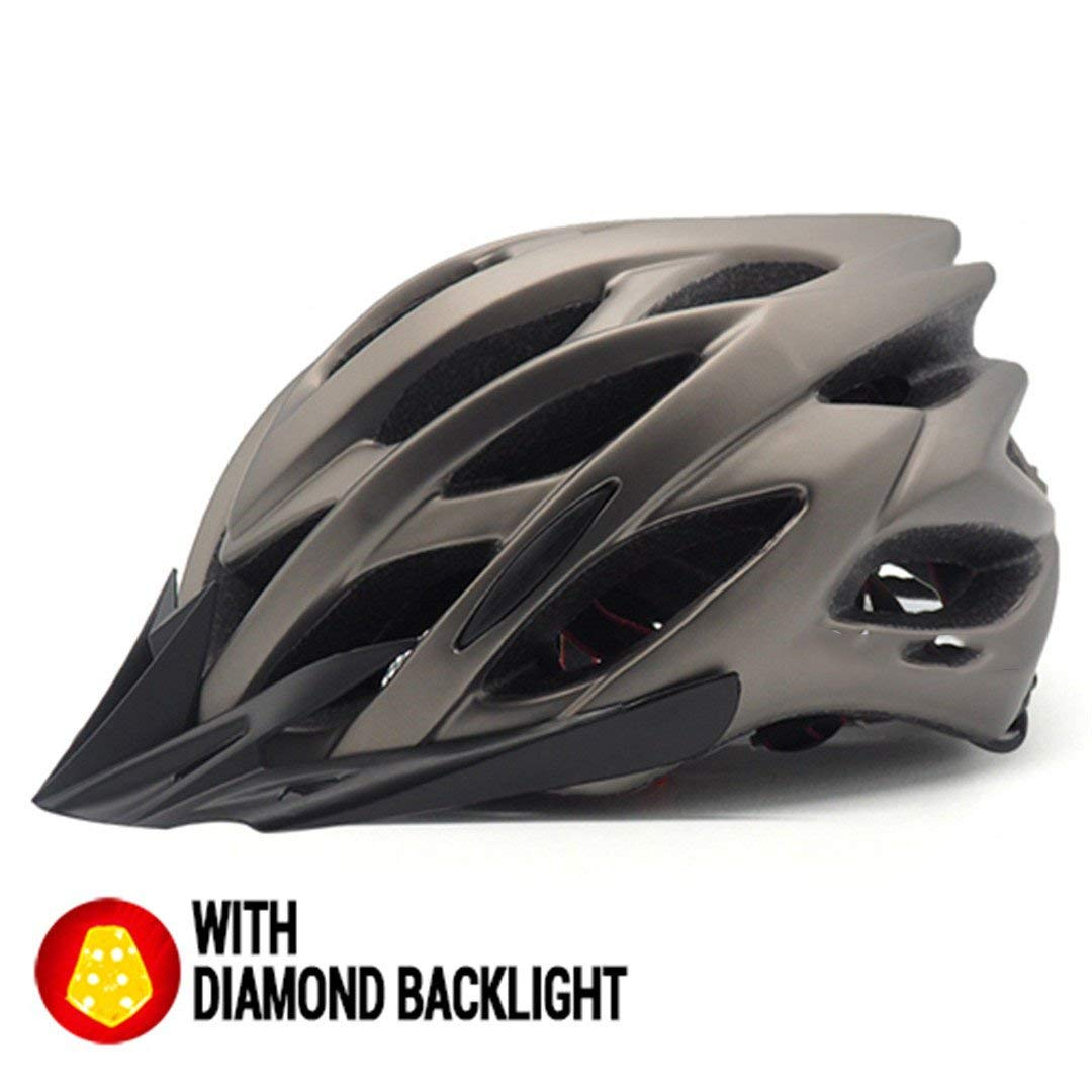 サイクリング自転車用ヘルメット 自転車ヘルメットサンバイザーバックライト男性女性 安全なサイクリングmtbマウンテンロードバイクライト付き スポーツ用保護ヘルメット (色 : Matte Ti Helmet) B07M7H7ZR4