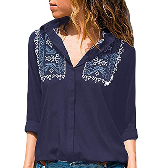 VJGOAL Mujeres otoño Moda Casual Imprimir Patchwork de Color sólido Botón Clásico Solapa Salvaje Camisetas de