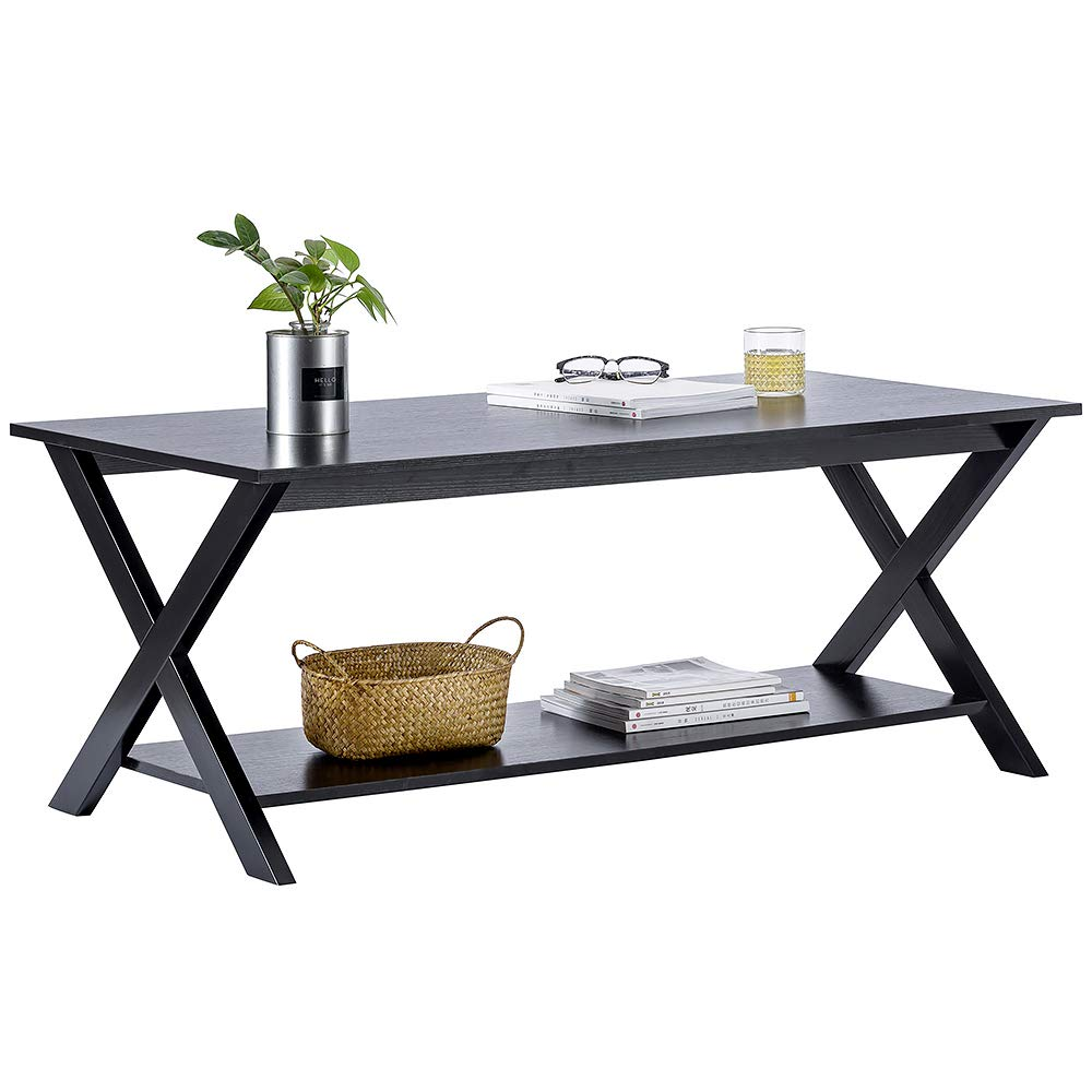 ChooChoo Wood Coffee Table Rustic X Design for Living Room, Modern Tea Table with Storage Shelf, Easy Assembly- Black by ChooChoo