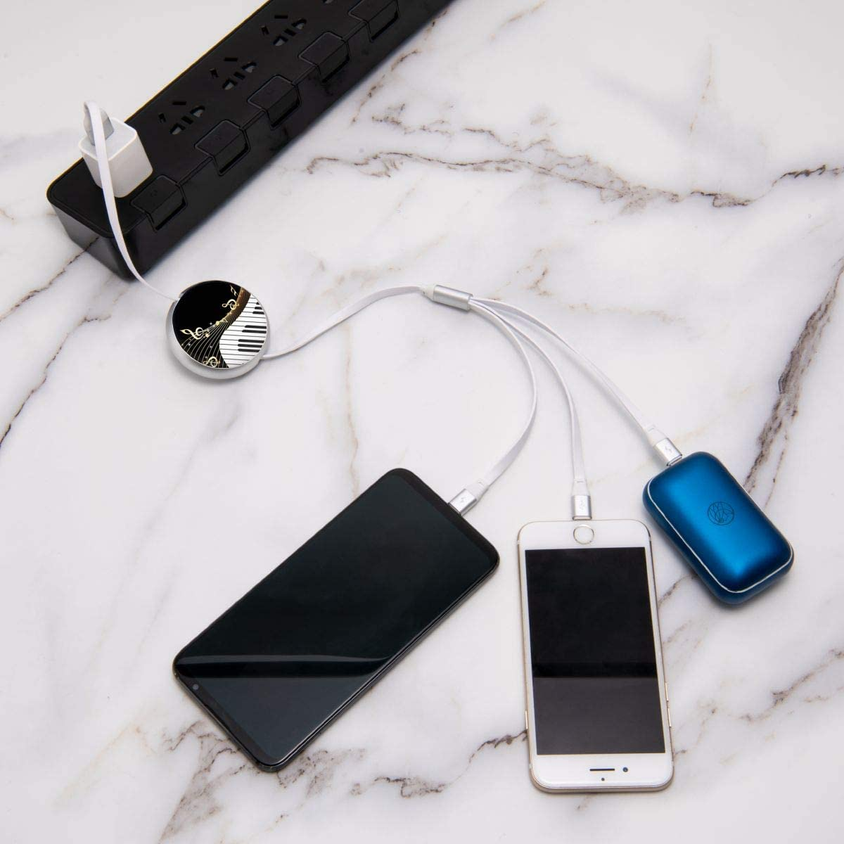 Retractable Multi USB Charging Cable Fast Charger Cord 3 in 1 Black Musical Notes with Type C Micro USB Port Connectors
