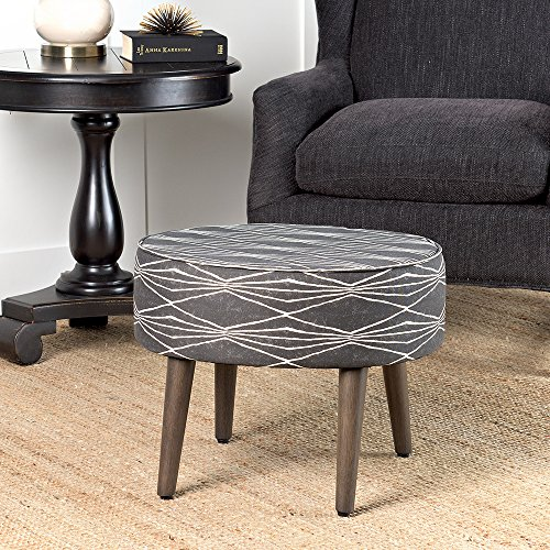 HomePop Mid Mod Oval Ottoman/Stool with Wood Legs, Dark Grey and Cream Triangle by HomePop (Image #3)