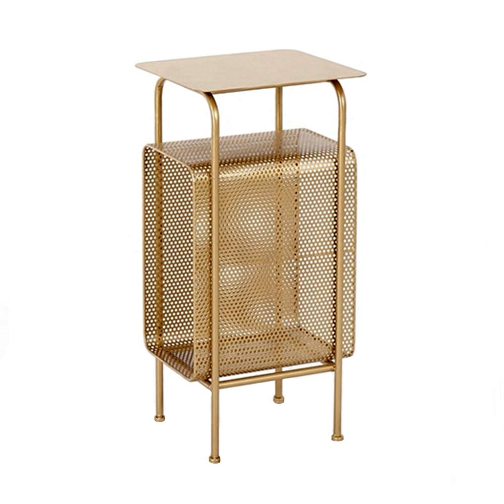 ZAYBJ XRXY Side Table, Bedroom Bedside Table, Living Room Bookshelf, Floor-Standing Slot Storage Table, Sofaside Coffee Table, Gold, Balcony Leisure Tea Table, 32×30×65 cm