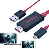 REALMAX® 2m Micro USB to HDMI Cable Adapter MHL for Samsung Galaxy S3/S4/S5, Note 2, Note 3, Note 8.0, Note 10.1 to 1080P HDTV (Red)