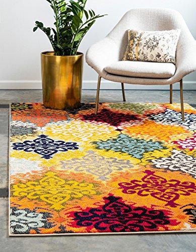 Unique Loom Estrella Collection Colorful Abstract Multi Area Rug (5' 0 x 8' 0)
