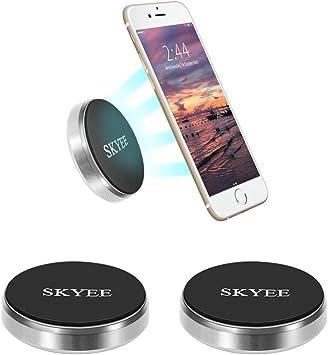 Skyee [2 Unidades Soporte Movil Coche Magnético Pegar en la Salpicadero, Pared, Universal Soporte Teléfono iman con 4 Piezas Placa Metálicas Soporte para Llaves, GPS, Smartphone (Silver): Amazon.es: Electrónica