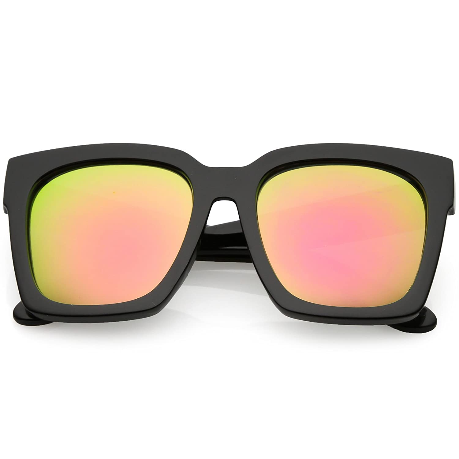 cf7adf1875eb5 Amazon.com  zeroUV - Bold Thick Arms Colored Mirror Square Lens Horn Rimmed  Sunglasses 58mm (Black Pink Green Mirror)  Clothing